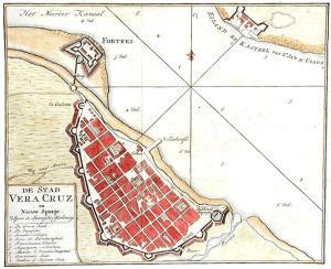 México, plano de Veracruz y del Castillo de San Juan de Ulúa, siglo XVIII.