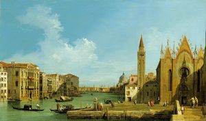 The Grand Canal looking east from the Carità towards the Bacino. Ca. 1727-28