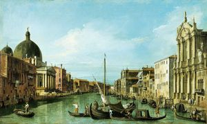 The Grand Canal looking west with the Scalzi and San Simeon Piccolo