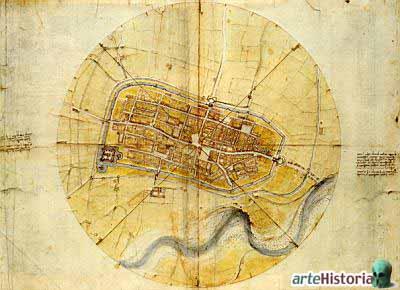 Plano de Imola, Leonardo da Vinci, 1502. 44 x 60 cm. Royal Library, Windsor Castle