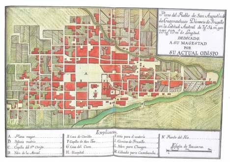 Plano de San Agustin de Huamachuco, Diócesis de Trujillo. Jaime Martinez de Compañón, ca.1784