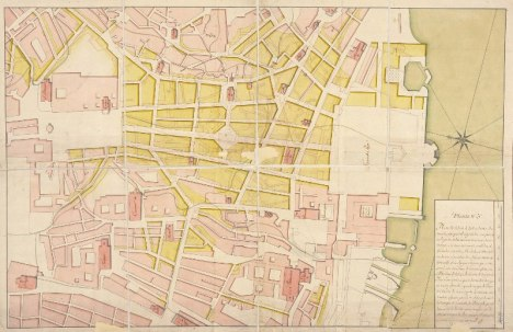 Plano de la ciudad de Lisboa. CARVALHO, Eugénio dos Santos e António Carlos Andrea. Segunda mitad del siglo XVIII